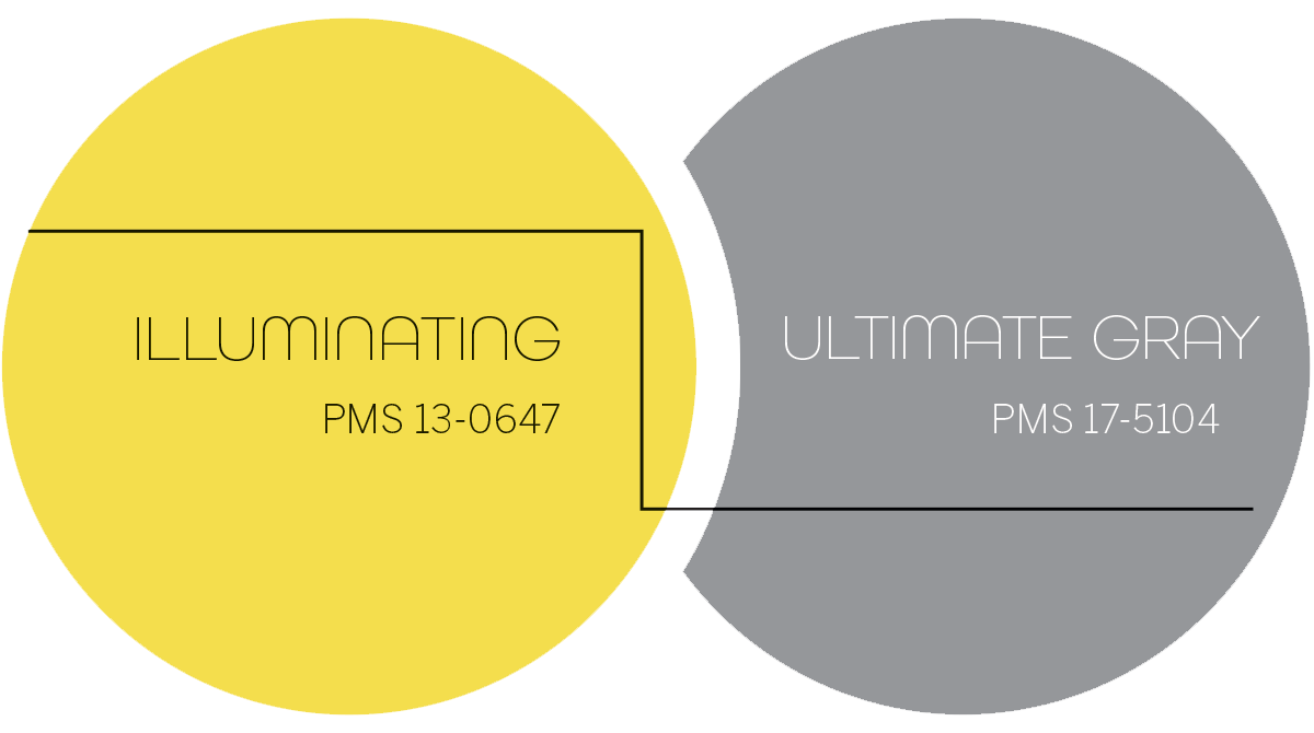 Illuminating: PMS 13-0647 and Ultimate Gray: PMS 17-5104 graphic
